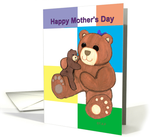 Mom Teddy Bear and Cub Mother's Day card (528369)