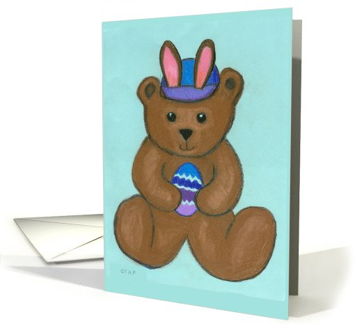 Easter Teddy Bear with Bunny Ears card (552390)