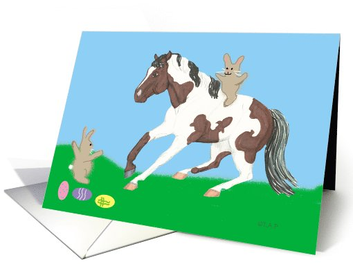 Paint Horse and Bunnies Easter card (572945)