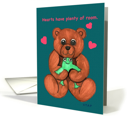 Valentine Hearts Teddy Bear and Frog card (765071)