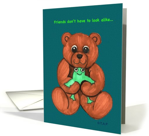 Friends Teddy Bear and Frog card (765082)