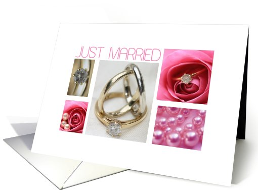 Just married - wedding announcement pink collage card (606322)