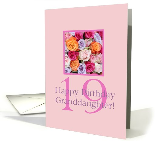 19th birthday Granddaughter, colorful rose bouquet card (728775)