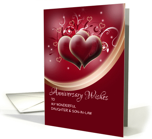 Anniversary wishes for Daughter and Son in Law on dark red hearts card