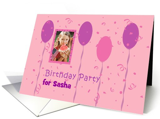 Birthday party invitation photo card with pink and magenta... (854712)