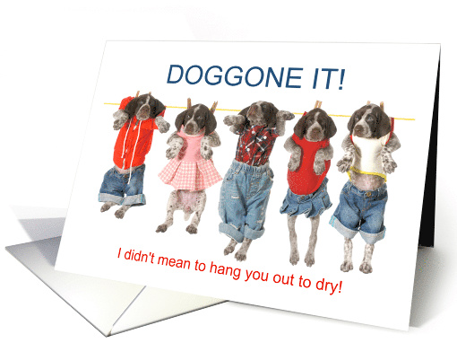 Apology Cute Pointer Puppies on Clothespins card (1556016)