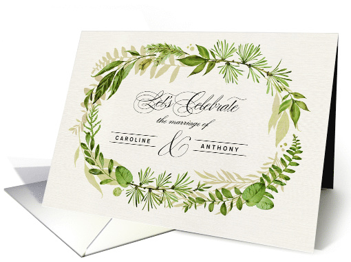 Custom Wedding Invitation. Watercolor Leaf Wreath design card