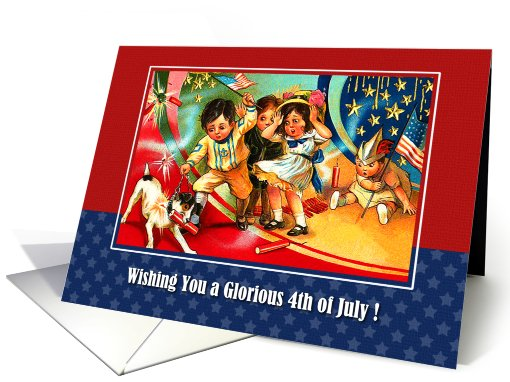4th of July Wishing. Vintage kids card (826494)