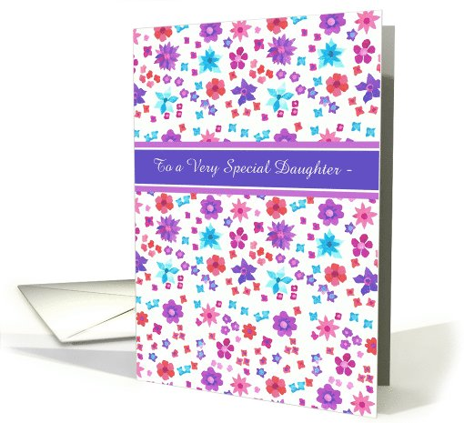 Custom Front Birthday Card for a Daughter, Flower Power card (966345)
