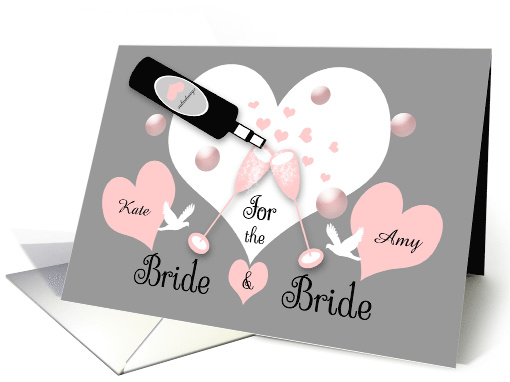 Lesbian Wedding Custom Name Champagne, Hearts, Bubbles, Doves card