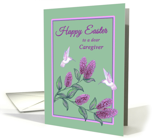 Caregiver Easter White Hummingbirds on Lilac Tree Branch card