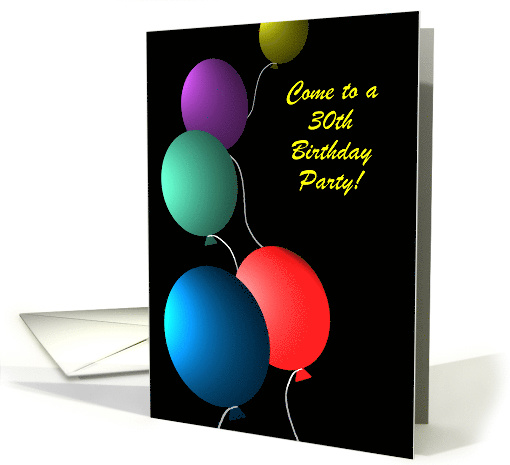 Invitation Birthday Custom Age Colorful Floating Balloons card