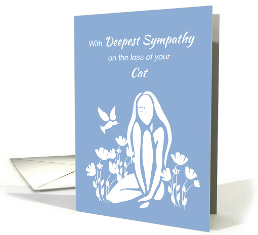 Sympathy Death of Cat White Silhouetted Girl w Poppies card (1286144)