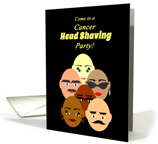 Invitation Cancer Head Shaving Party Bald Headed People card (1302446)