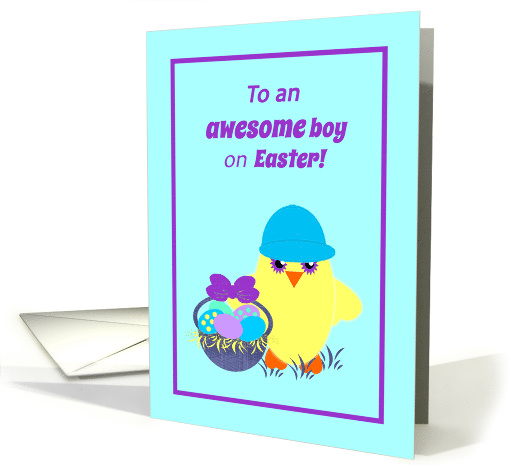 Kids Easter Baby Chick, Basket, Colored Eggs card (1367892)