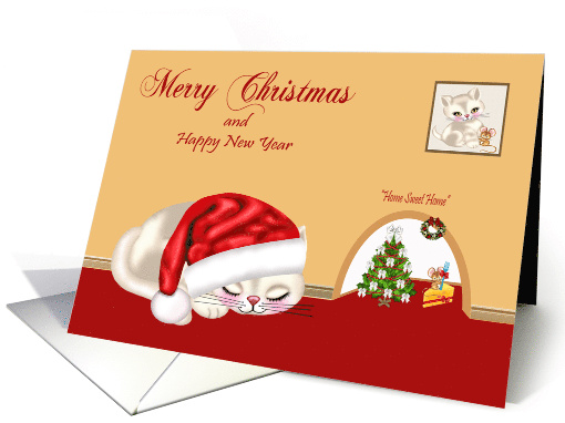 Christmas with a Cat Wearing a Santa Hat Sleeping by a Mouse Hole card