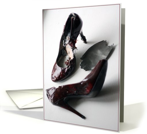Torn Up Red Shoes - After you kick him to the curb card (567273)