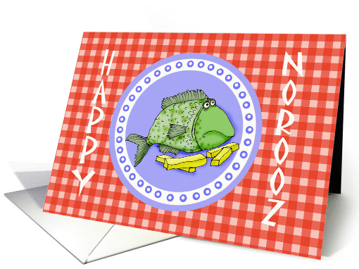 Happy Norooz, fish on plate,humor.for boss card (904221)