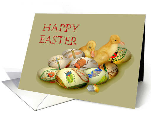 Happy Easter,ducklings and embroidered eggs, for mom, card (914838)