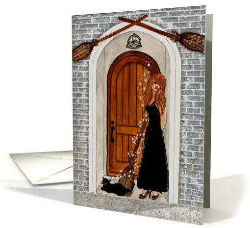 Out Of The Broom Closet - Witch Art Blank card (1449992)