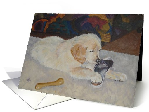 The Bone - Golden Retriever puppy chewing a shoe card (614886)
