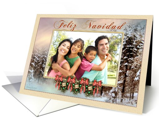 Feliz Navidad Spanish Photo Card - Merry Christmas Garland Bows card