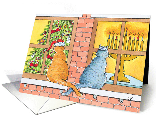 Interfaith Curious Cats with Christmas Tree and Menorah card (922573)