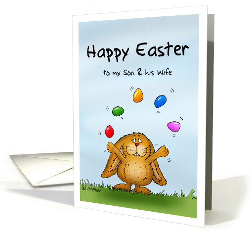 Happy Easter to my Son & Wife - Cute Bunny juggling with eggs card