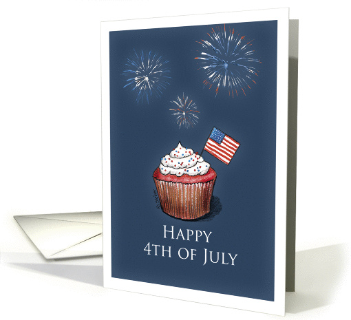 4th of July - Cupcake with US Flag and Fireworks card (900523)