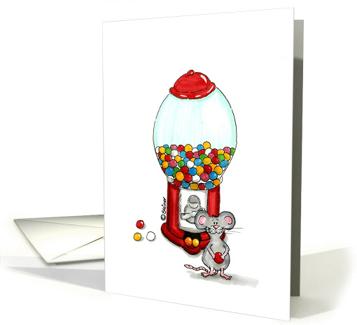 Cute Mouse with gumball Machine card (918734)