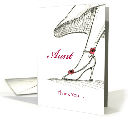 Aunt - Thank you for being my Bridesmaid, Sketch High heel card
