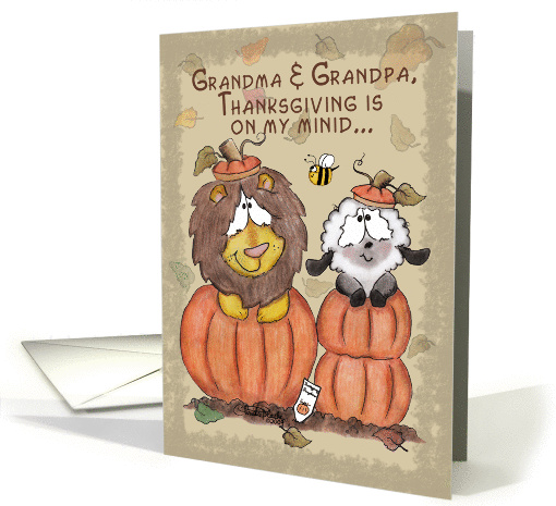 Thanksgiving for Grandparents-Lion and Lamb in Pumpkins card (665549)