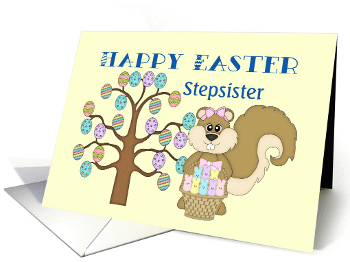 Happy Easter Stepsister -Tree, Easter Eggs and Squirrel... (1026495)