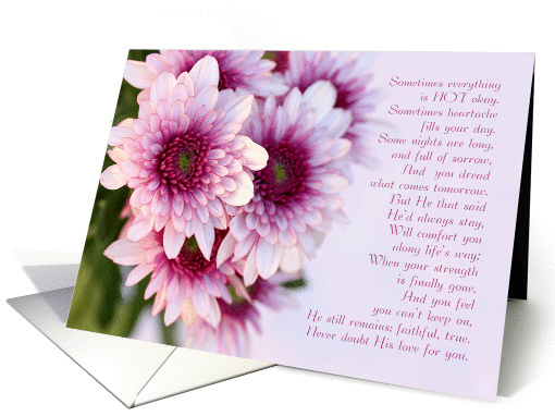 Sympathy for loss, pink daisies, with Christian sympathy poem. card
