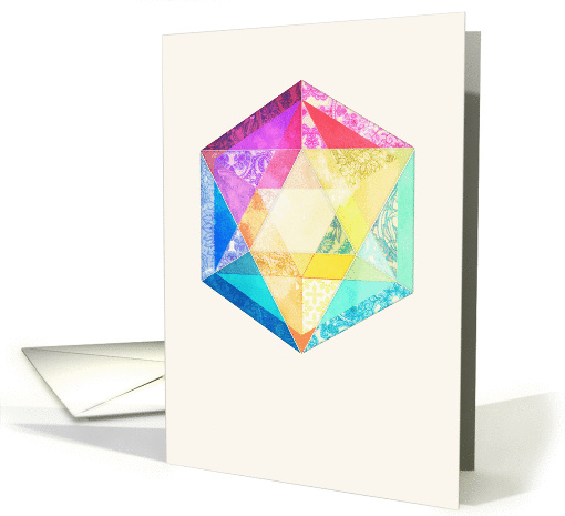 Pretty Pastel Patchwork Hexagon in Rainbow Colors - blank card