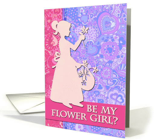 Be my flower girl? Paper cutout silhouette, heart doodle pattern. card