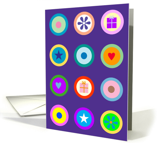 Bright Circle Icons on Purple Grid Birthday card (942861)
