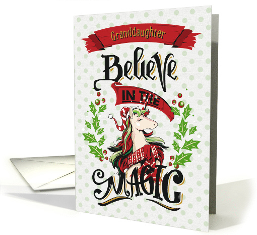 Merry Christmas to Granddaughter Magical Holiday Unicorn card