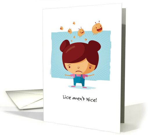 Get Well from Lice Unhappy Cartoon Girl and Jumping Lice card