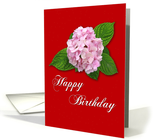 Happy Birthday - pink flower against red card (778025)