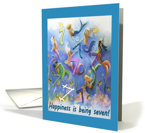 Seven Little Mermaids, 7 year old Birthday card (1515234)
