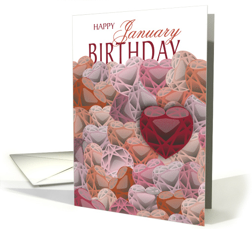 Garnet Hearts - January Birthday card (1101080)