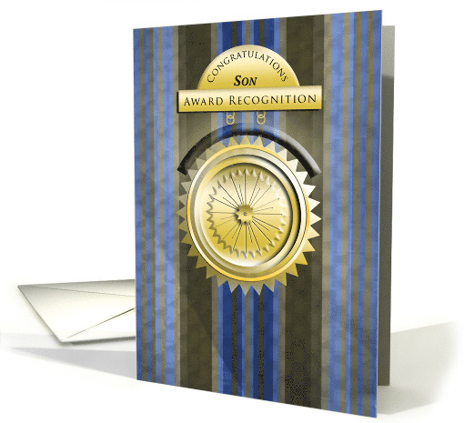 Black and Blue Stripes - Medallion Congratulations on Award Son card