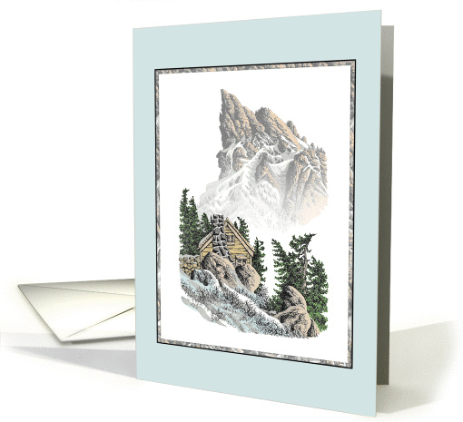MOUNTAIN WELCOME HOME COLORED PEN DRAWING card (721955)