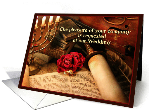 Invitation, Jewish Wedding Announcement with Torah Scroll... (1056579)