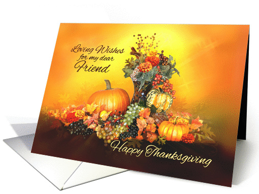 For my Friend, Happy Thanksgiving, Pumpkins and Autumn Leaves card