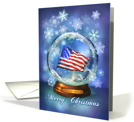 Patriotic Christmas, American Flag in Christmas Snow Globe card