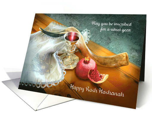 Happy Rosh Hashanah, Shofar with Wine Cup and Pomegranate card