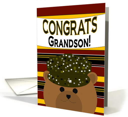 Grandson - Congratulate Army Member on Any Army Award/Recognition card