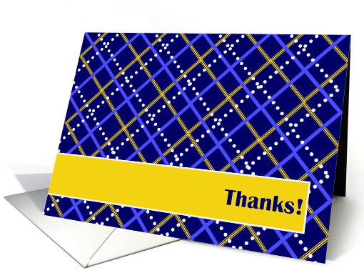 Thanks! Birthday Gift - Blue and Gold Plaid card (893445)